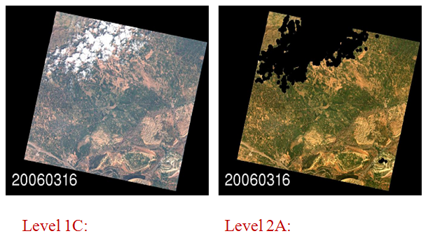 Sentinel2 image before and after processing