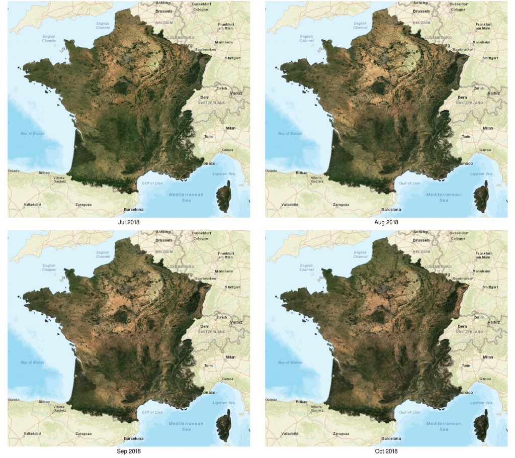 Cloudless images of France generated with WASP